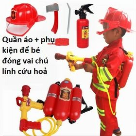 Quần áo + phụ kiện để bé đóng vai lính cứu hoả giá sỉ