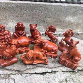 Bộ tượng gỗ 12 con giáp giá sỉ