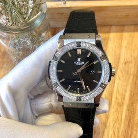 Đồng hồ nam Hulot vỏ trắng máy cơ Nhật viền đá tấm giá sỉ