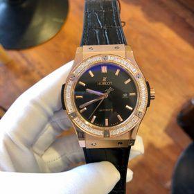 Đồng hồ nam Hulot vỏ vàng viền đá tấm dây cao su lót da đen giá sỉ