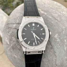 Đồng hồ nam HB vỏ trắng Full kim cương nhân tạo giá sỉ