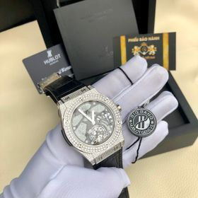 Đồng hồ nam HB vỏ trắng Full kim cương nhân tạo trắng giá sỉ