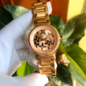 Đồng hồ L.V. nữ vỏ vàng mặt hoa hồng giá sỉ