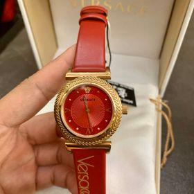 Đồng hồ nữ Versaces vỏ vàng mặt đỏ cao cấp giá sỉ