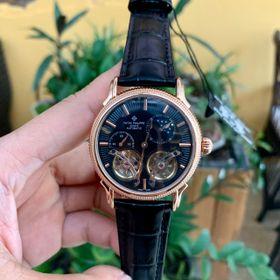 Đồng hồ nam Patek Philippe vỏ vàng mặt đen lộ cơ giá sỉ