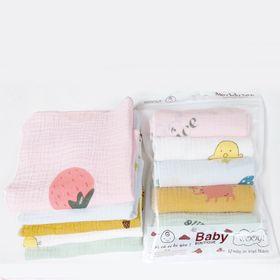 Túi 5 khăn sữa sợi tre Wooji kích thước 30x30cm giá sỉ