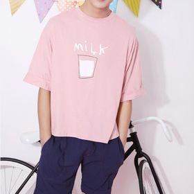 Áo thun nam tay lở màu hồng in hộp sữa giá sỉ