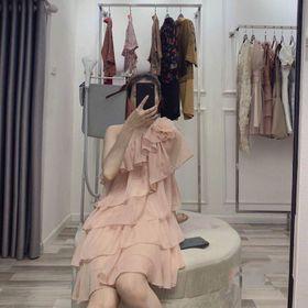 Đầm suông lệch 1 vai xếp tầng giá sỉ