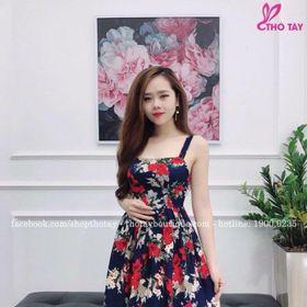 Đầm hoa đỏ giá sỉ