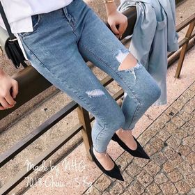 Quần jeans skinny rách chun giá sỉ