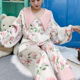 Đồ ngủ đồ mặc nhà tdqd hoa tay phồng chất lụa in 3D hàng Quảng Châu giá sỉ