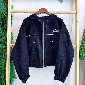 Áo khoác nhung QC hàng đẹp logo thêu giá sỉ
