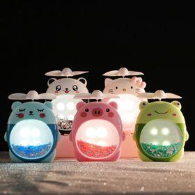 Quạt mini để bàn, quạt cầm tay hình thú có đèn led nhũ kiêm tuyến giá sỉ