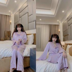 Đồ ngủ đồ mặc nhà tdqd viền ren nơ cổ chất lụa Quảng Đông giá sỉ