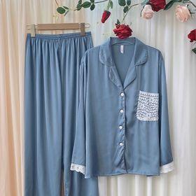 Đồ ngủ đồ mặc nhà tdqd trơn phối túi ren chất lụa Quảng Đông giá sỉ