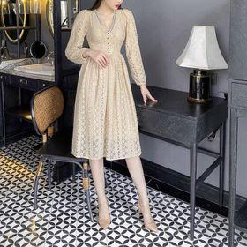 Đầm ren kiểu dài tay giá sỉ