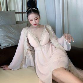 Đồ ngủ sét 2 món váy kèm choàng phối ren chất voan hàng quảng đông giá sỉ