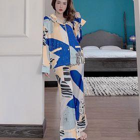 Đồ ngủ đồ mặc nhà pijama tdqd hoạ tiết chất lụa in 3D hàng quảng đông siêu mịn giá sỉ