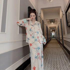 Đồ ngủ đồ mặc nhà tdqd hoạ tiết hoa lá chất lụa in 3D hàng quảng đông cao cấp giá sỉ