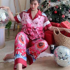 Đồ ngủ đồ pijama tnqd hạc đỏ lụa quảng đông giá sỉ