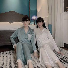 Đồ ngủ đồ mặc nhà tdqd trơn phối túi ren chất lụa quảng đông cao cấp giá sỉ