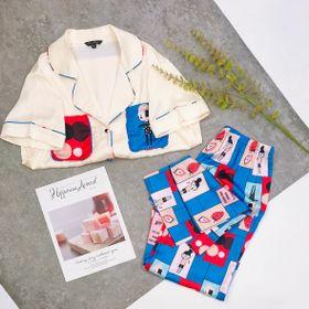 Đồ ngủ đồ mặc nhà tnqd túi đôi quần hình chất lụa quãng châu cao cấp giá sỉ
