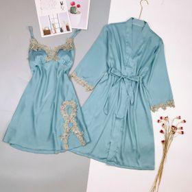 Đồ ngủ sét 2 món váy kèm choàng ren nổi lụa quãng đông giá sỉ