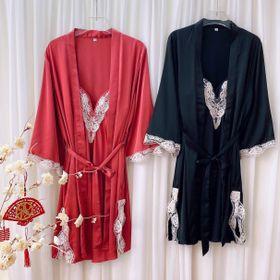 Đồ ngủ sét 2 món váy kèm choàng phối ren chất Lụa quãng đông cao cấp giá sỉ
