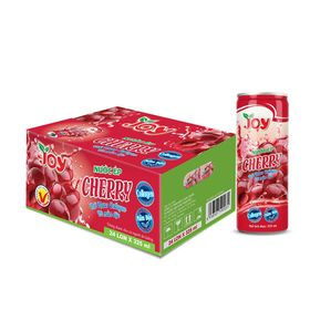 Thùng 24 Lon Nước Ép Cherry JOY Chua Chua Ngọt Ngọt Ngon Tái Tê cùng Collagen và Mầm Đậu Tươi Tắn Làn Da 325ml giá sỉ