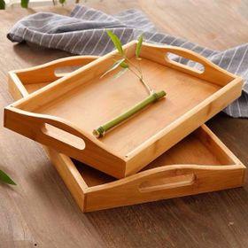 Khay gỗ tre ghép đựng trà, thức ăn hình chữ nhật - GIÁ SỈ - Hàng sản xuất chuẩn tre Việt Nam giá sỉ
