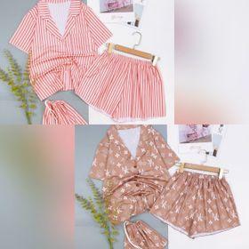Đồ ngủ đồ mặc nhà đùi pijama thun cotton mềm mát kèm túi vải giá sỉ
