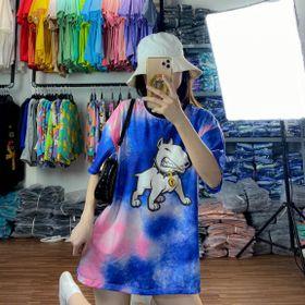 Áo thun teen nữ - áo loang màu free size giá sỉ