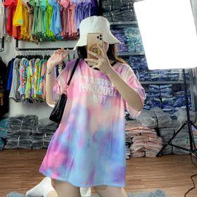 Áo thun teen nam nữ - áo loang màu free size - Tay lỡ giá sỉ