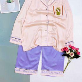 Đồ ngủ đồ mặc nhà tdqd trơn màu chất lụa quảng đông giá sỉ