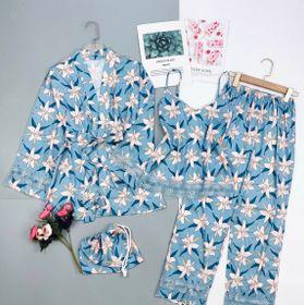 Đồ ngủ đồ mặc nhà hai dây quần dài kèm choàng viền ren hoạ tiết chất lụa tơ tằm việt nam giá sỉ