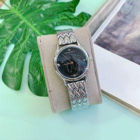 Đồng hồ nữ mặt đen viền trắng, thép không rỉ. Hàng bao đẹp giá sỉ
