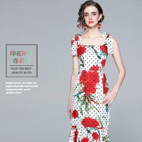 Đầm hoạ tiết bi hoa đỏ D087554 - Kho sỉ giá sỉ