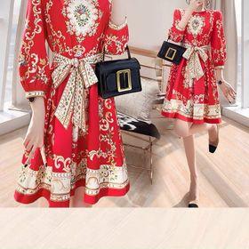 Đầm hoa lụa xoè D09715 - Kho sỉ giá sỉ