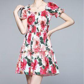 Đầm hoa nhún eo D91876 - Kho sỉ giá sỉ
