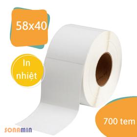 Cuộn 700 tem ( 58x40) - Tem nhiệt in tem nhãn, in mã vạch, in tem phụ 58x40mm - 5.8x4cm. giá sỉ