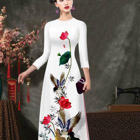 GIÁ XƯỞNG - Áo dài truyền thống lụa in 3D trắng ( áo kèm quần) giá sỉ