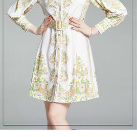 Đầm lụa kèm nịt hoa D019755 - Kho sỉ giá sỉ