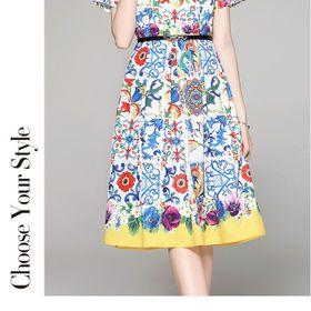 Đầm lụa kèm nịt hoạ tiết D981755- Kho sỉ giá sỉ