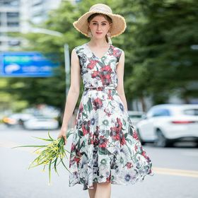 Đầm voal hoa kèm nịt D01875 - Kho sỉ giá sỉ