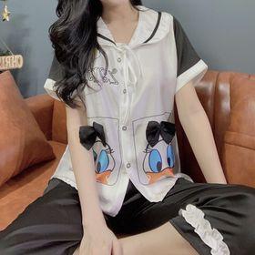 Xưởng sản xuất đồ bộ pijama Satin tiểu thư 2túi in 3d vịt DONA Dài Cộc giá sỉ