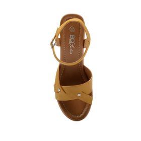Giày Xuồng Nữ Bảng Phối Chéo Hai Đinh Màu Vàng, Đế 8cm GI PA029-PU1359 BQ giá sỉ