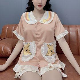 Đồ bộ nữ pijama Satin in 3D cầu vồng Đùi Cộc giá sỉ